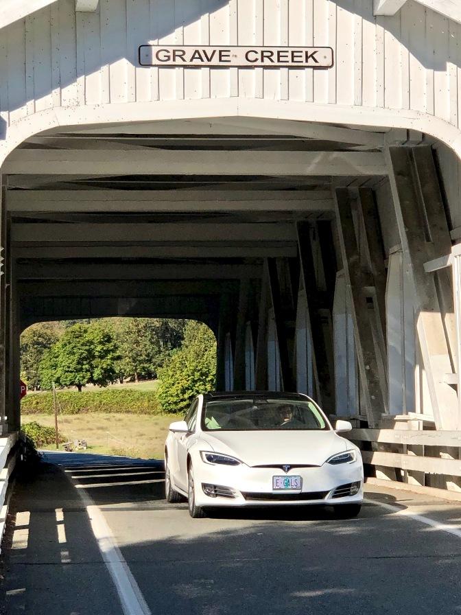 Tesla on covered bridge